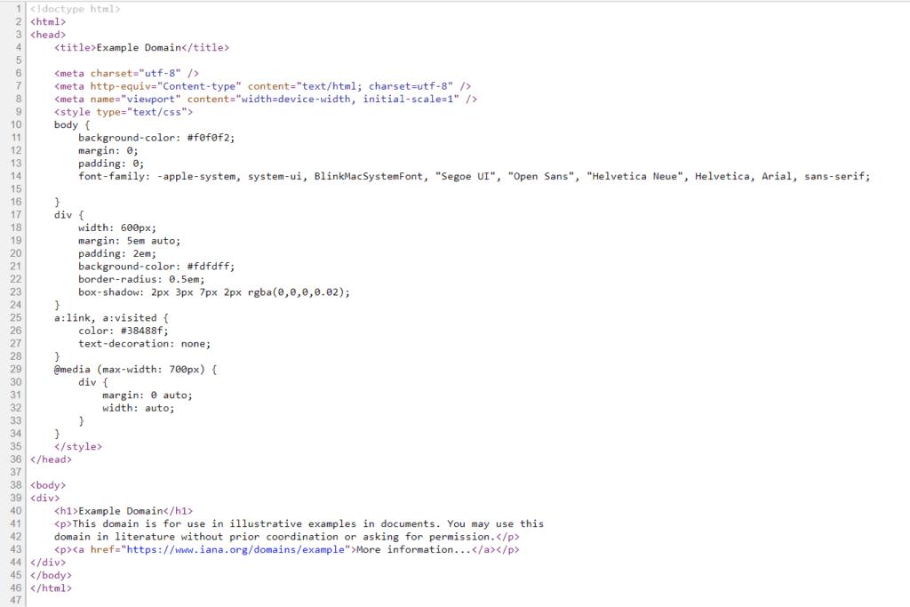 example.com 的網頁原始碼